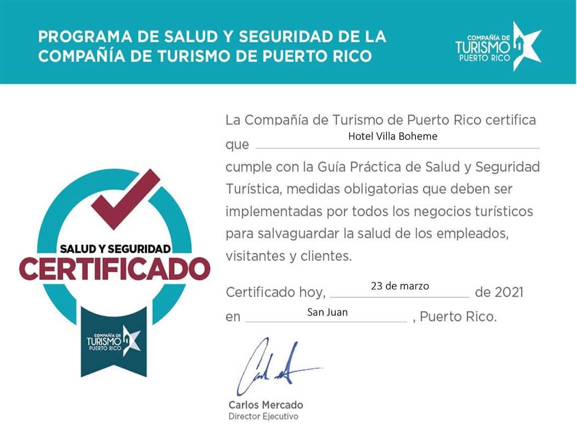 Certificado de Salud Seguridad